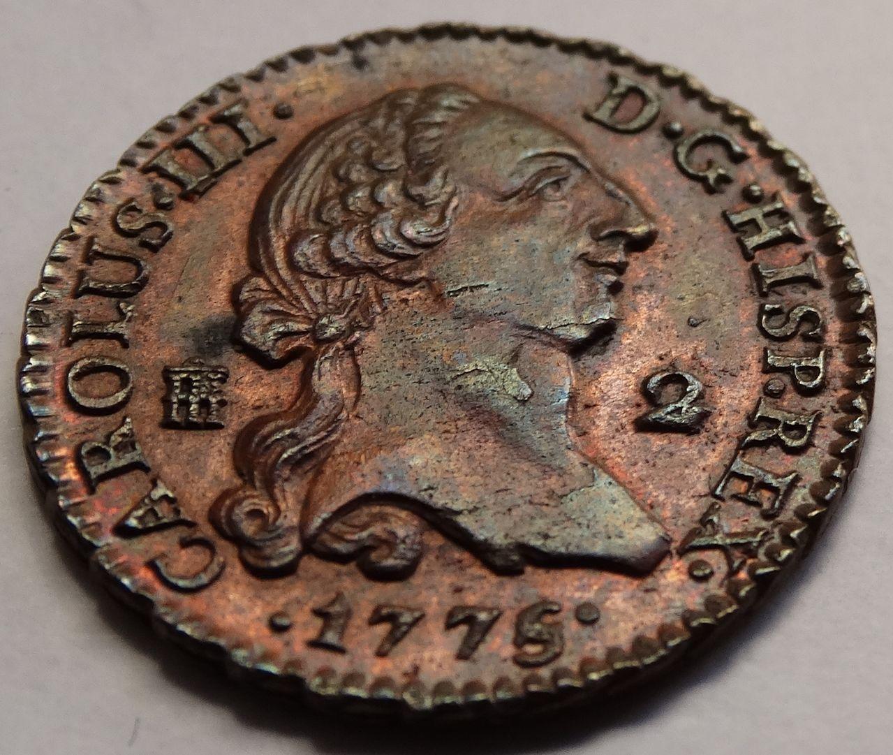 2 maravedís de 1774. Carlos III, Segovia. SC brillo original. DSC03316