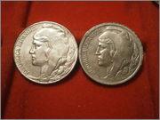 "5 Centimos 1937 República Española - variantes "" Cabeza pequeña, cabeza grande "" PA060148"