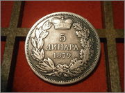Serbia 5 dinares 1879 Milan I PA130286