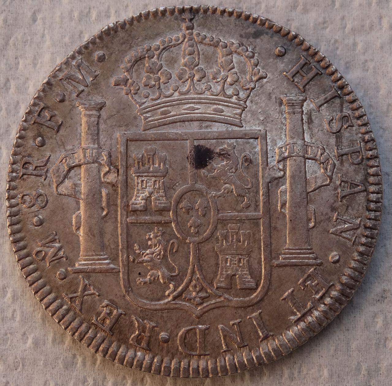 8 reales 1790. Carlos IV (Busto Carlos III ordinal IIII). Méjico  DSC04424