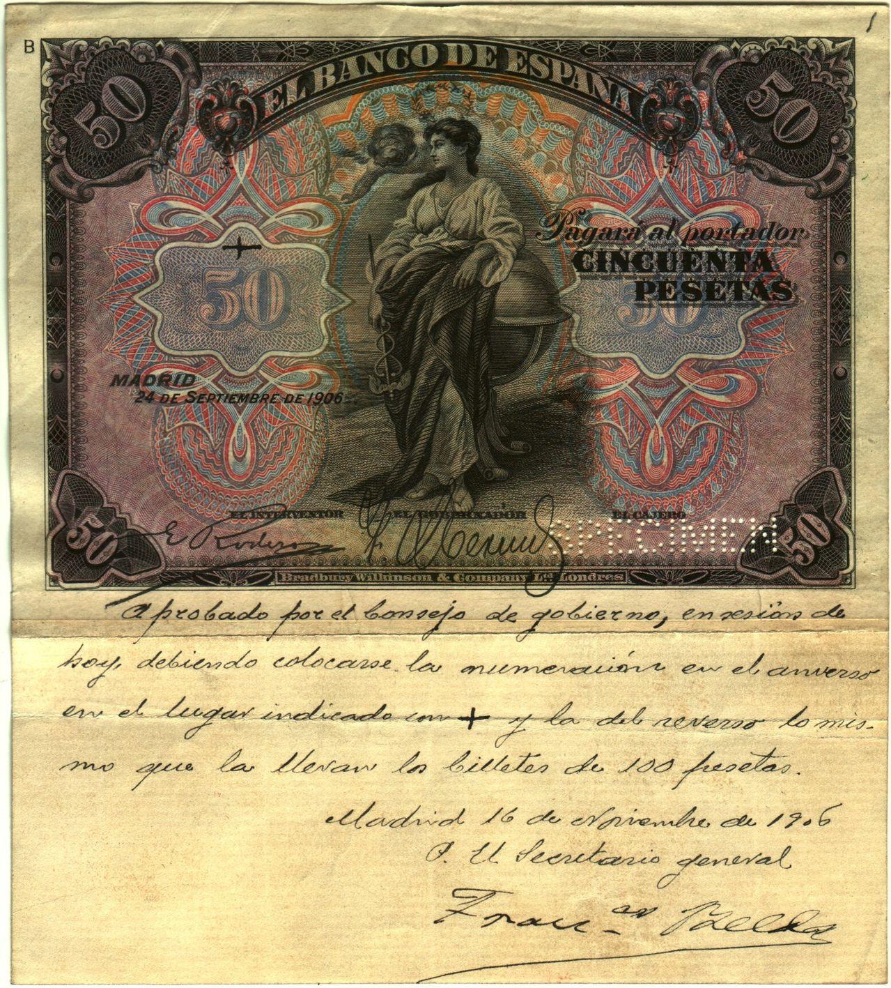 50 Pesetas 1906 (Prueba del Emisor) Spain_P58sa