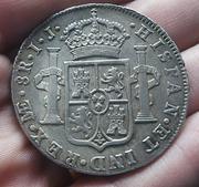 8 Reales 1789. Carlos IV. Lima. Busto Carlos III. CIV1789_N2
