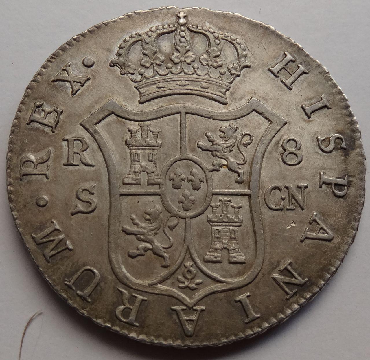 8 REALES FERNANDO VII 1808 SEVILLA BUSTO DESNUDO DSC03643