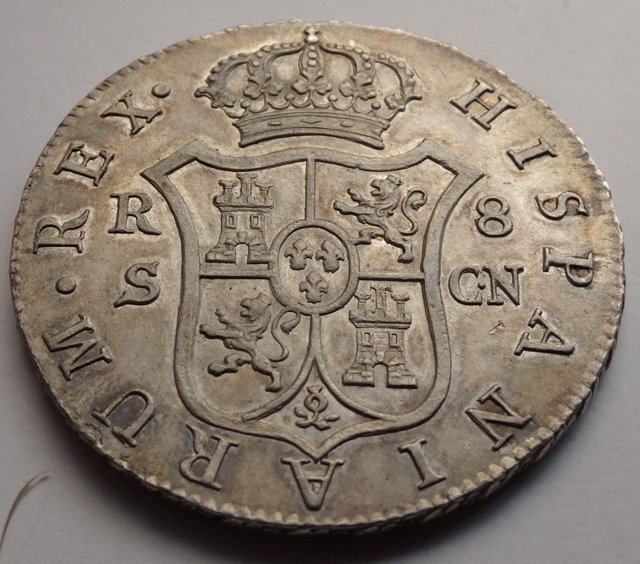 8 REALES FERNANDO VII 1808 SEVILLA BUSTO DESNUDO DSC03646