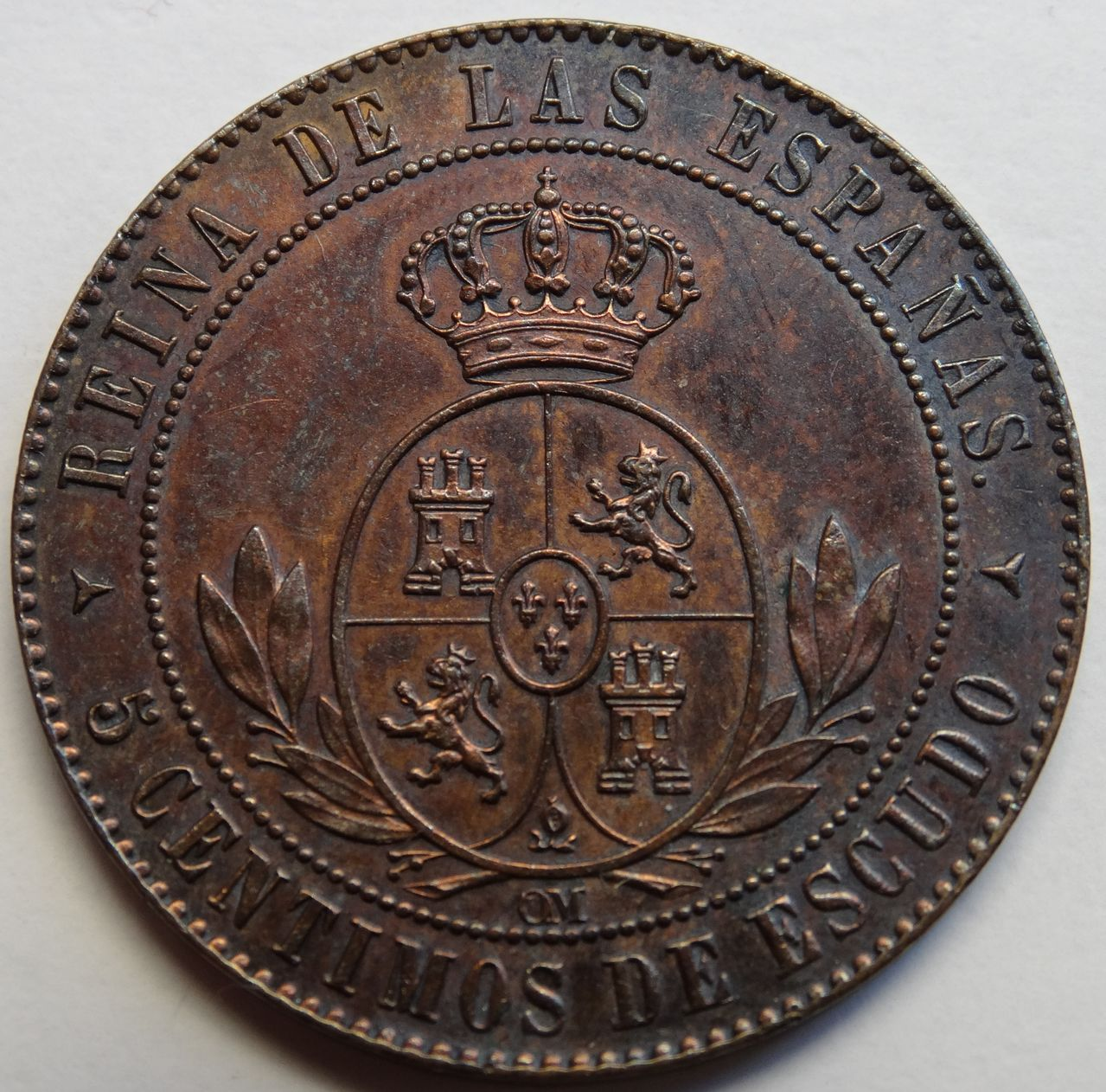 5 CENTIMOS DE ESCUDO 1868 SEGOVIA ISABEL II SC DSC02487