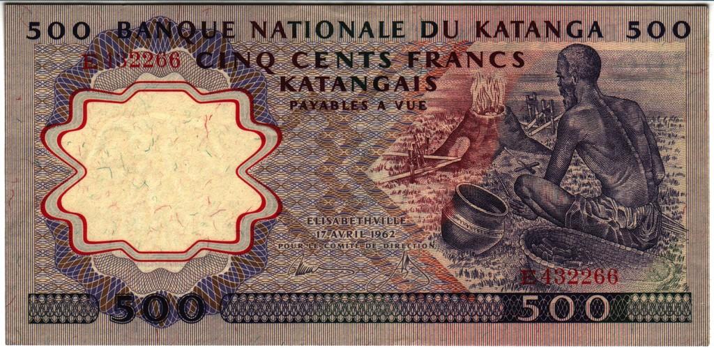 500 Francos Katanga, 1962 Katanga_P13a