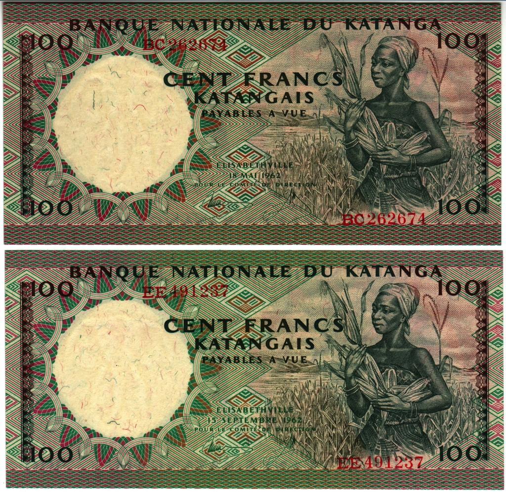 100 Francos Katanga, 1962 Katanga_P12a