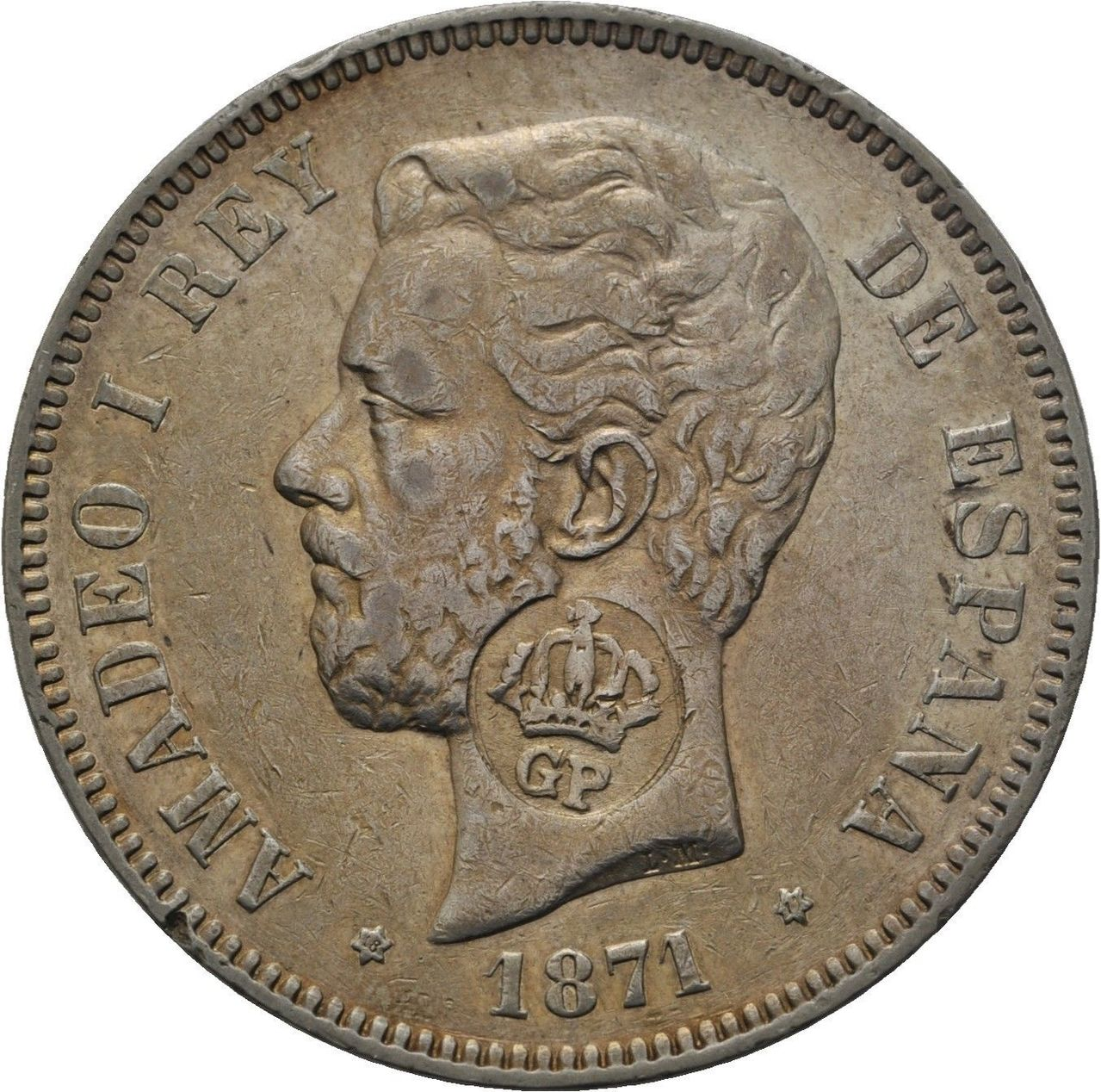 5 PESETAS AMADEO I 1871 *71 RESELLO AZORES ¿AUTENTICO? Image