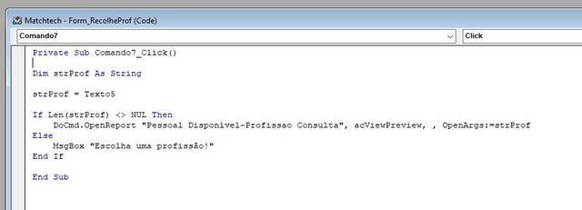 [Dúvida] Access - Passagem de parâmetros Codigo1