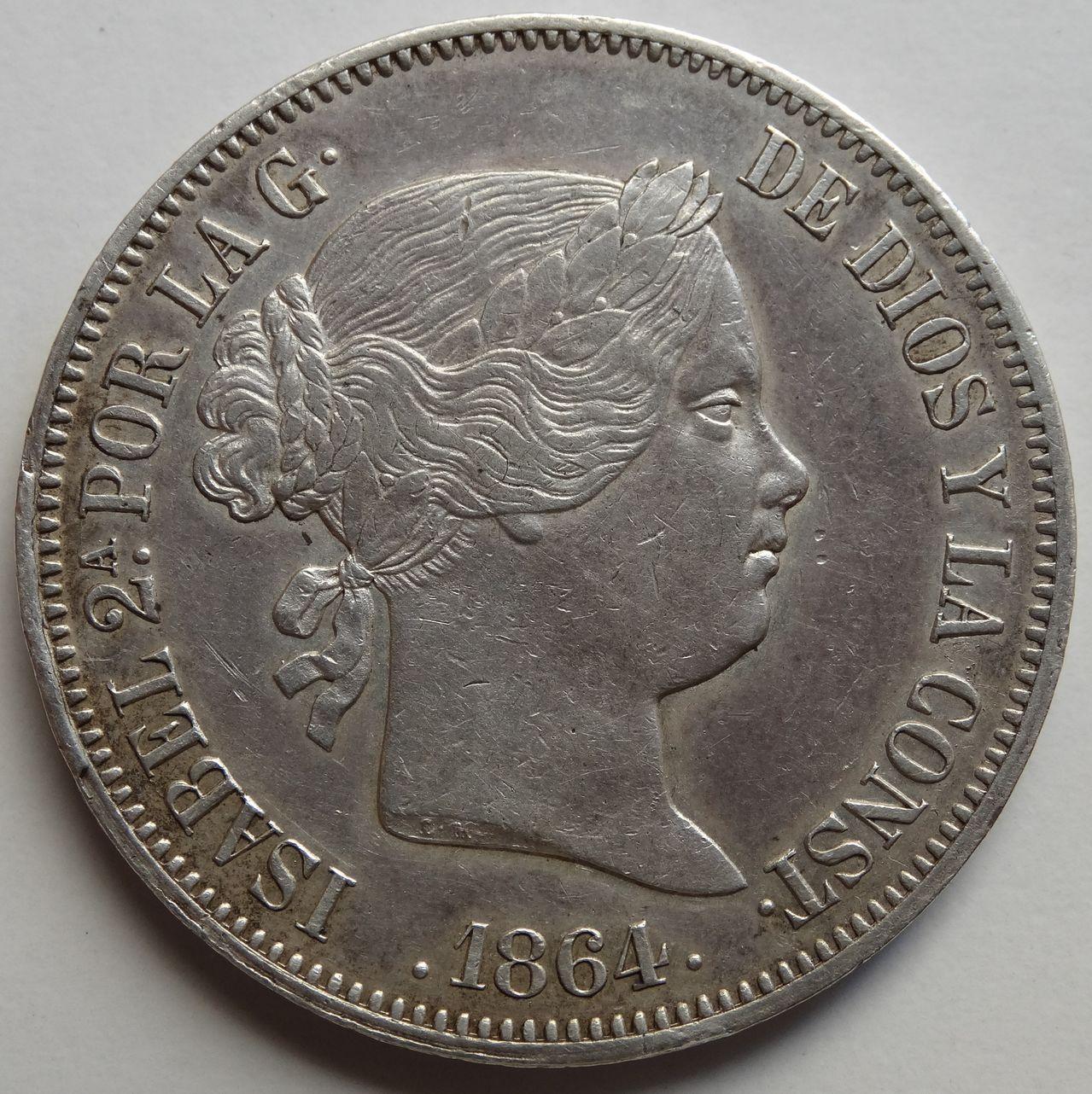 20 REALES ISABEL II 1864 MADRID DSC02288