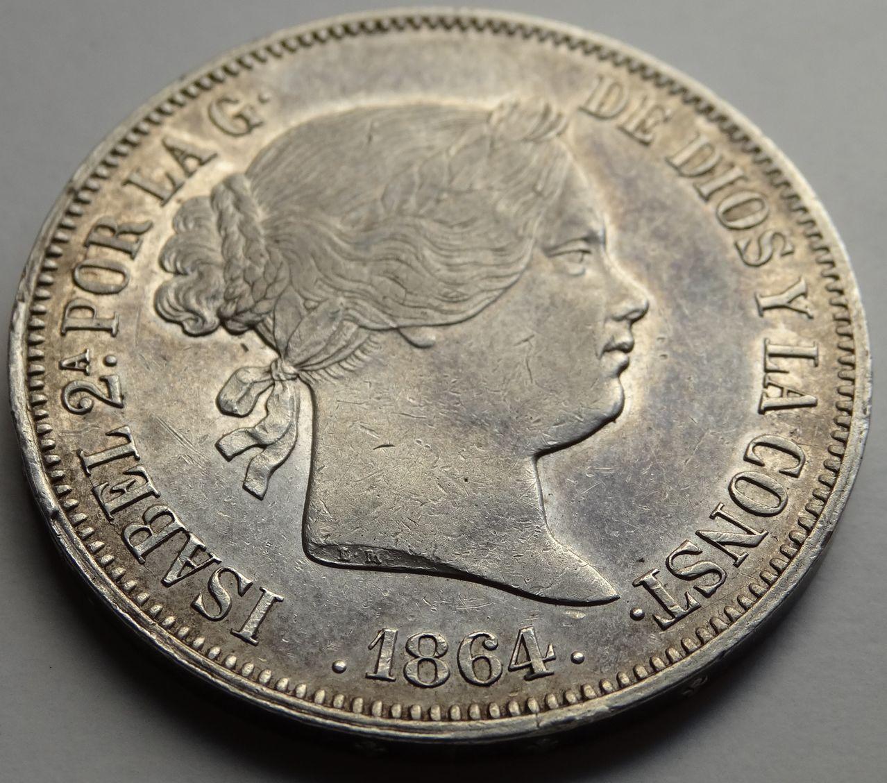 20 REALES ISABEL II 1864 MADRID DSC02287