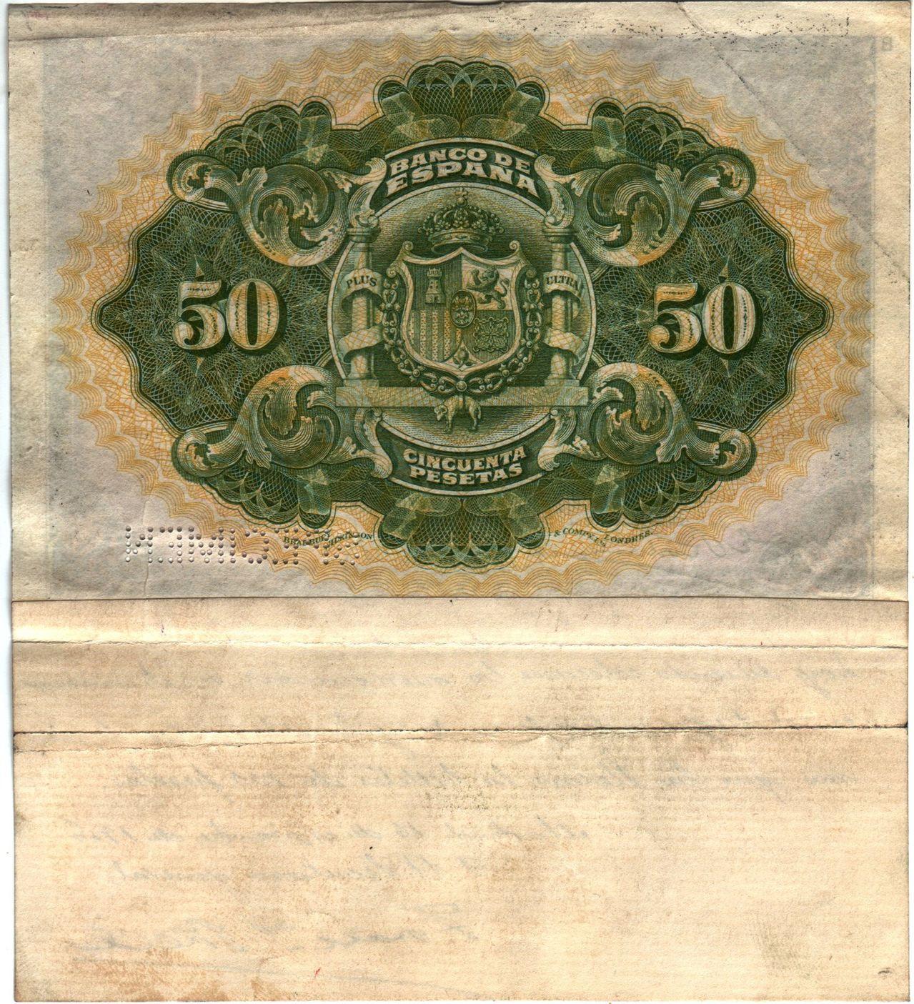 50 Pesetas 1906 (Prueba del Emisor) Spain_P58sb