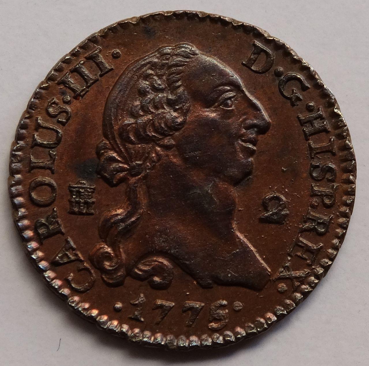 2 maravedís de 1774. Carlos III, Segovia. SC brillo original. DSC03315