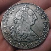 8 Reales 1789. Carlos IV. Lima. Busto Carlos III. CIV1789_A1
