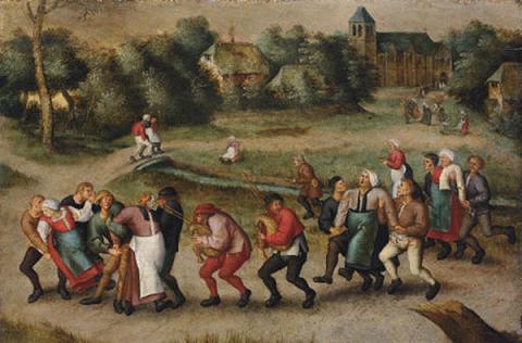Dancing Mania Saint_John_s_Dancers_in_Molenbeeck_1592_by_Pieter_Brueghel_II
