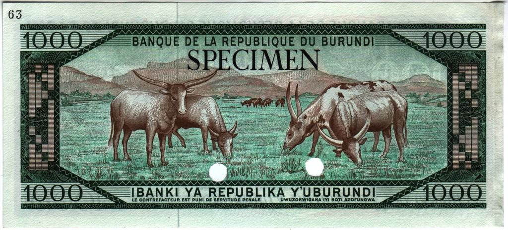 1000 Francos Burundi, 1968 (Prueba de color) Burundi_P25ctb