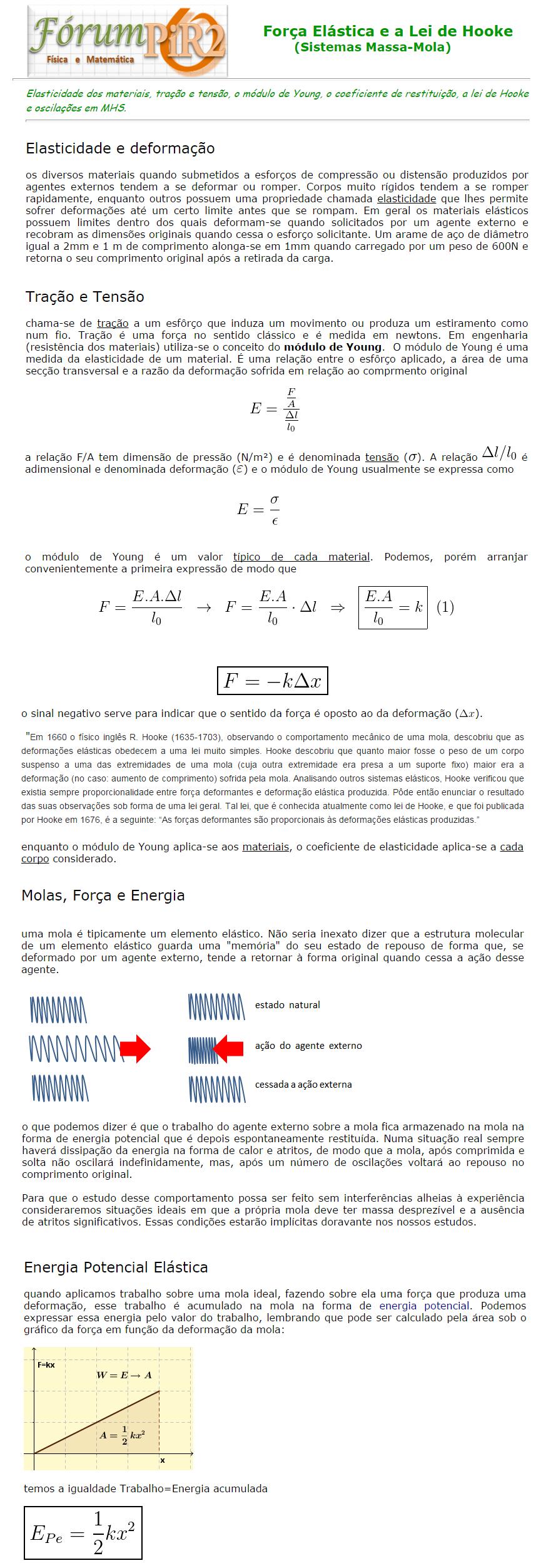 Força Elástica e a Lei de Hooke (Sistemas Massa-Mola) Molas_1