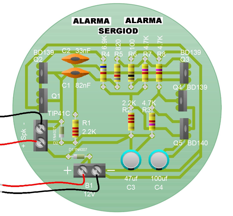 SIRENA-ALARMA-ELECTRONICA ALARMA-SIRENA-PCB-SERGIOD