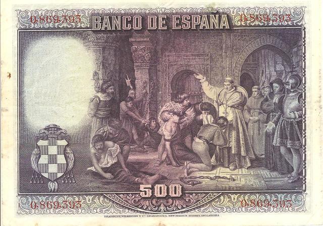 billete de 500 pesetas 15 de Agosto 1928 Image