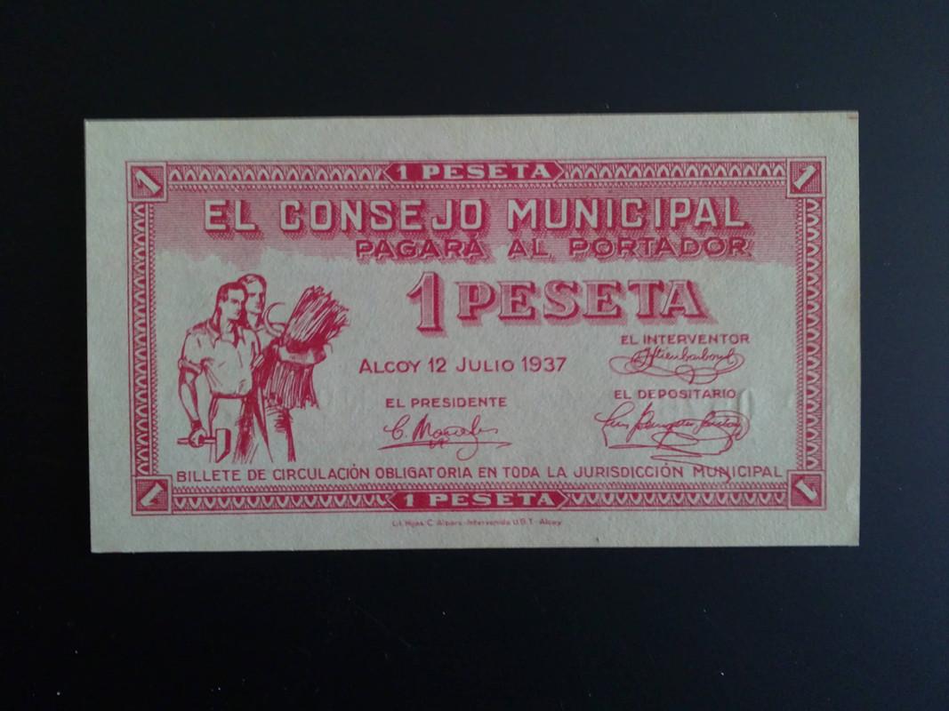 3ª emision de 1 Peseta de Alcoy (Alicante) 14012013978