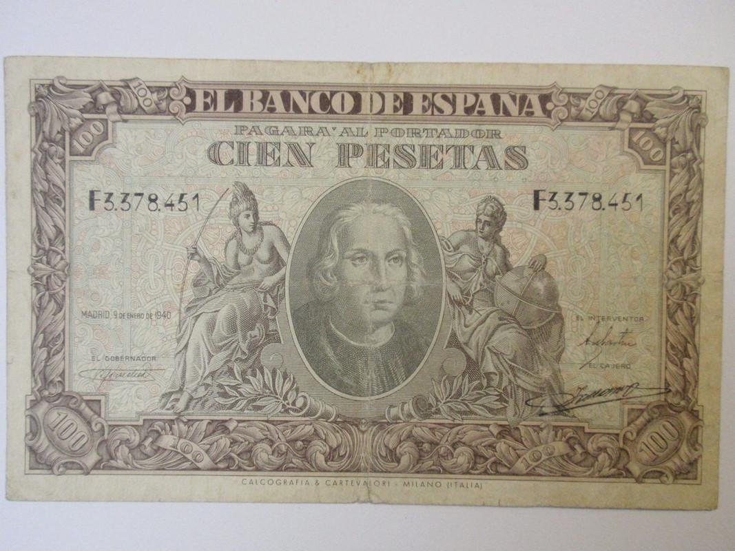 100 pesetas 1940 Colón 100colona