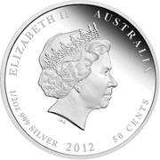 "1 Dóllar Dragón Lunar (""Privy Mark""). Australia.  2012 2857_Lunar_Silver_Coloured_Half_Oz_Obverse"