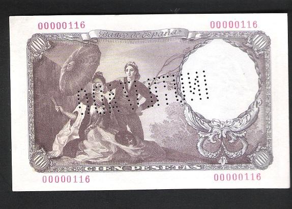 BONITO BILLETE DE 100 PESETAS DE 1946!!!NÚMERO BAJO E INUTILIZADO. Goya