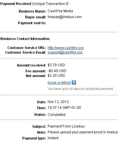 1º Pago de Linebux ( $3,79 ) Linebuxpayment