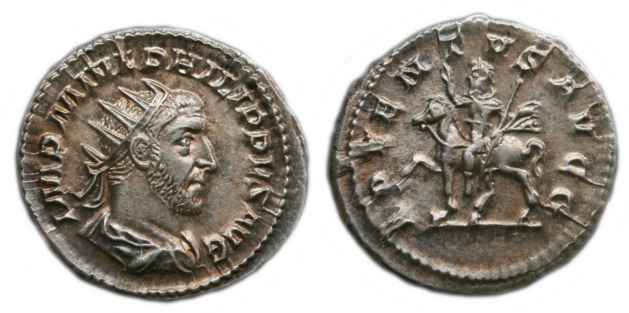 Antoniniano de Filipo. ADVENTVS AVGG. Filipo a caballo a izq. Roma. Sin_t_tulo-1
