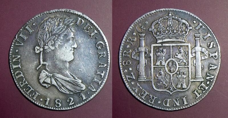 8 Reales 1821. Fernando VII. RG. Zacatecas. Una Ceca de Guerra FVII
