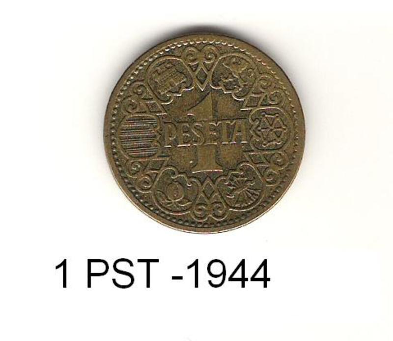 "1 Peseta 1944 ""La del 1"". Francisco Franco. Estado Español. 1_PST"