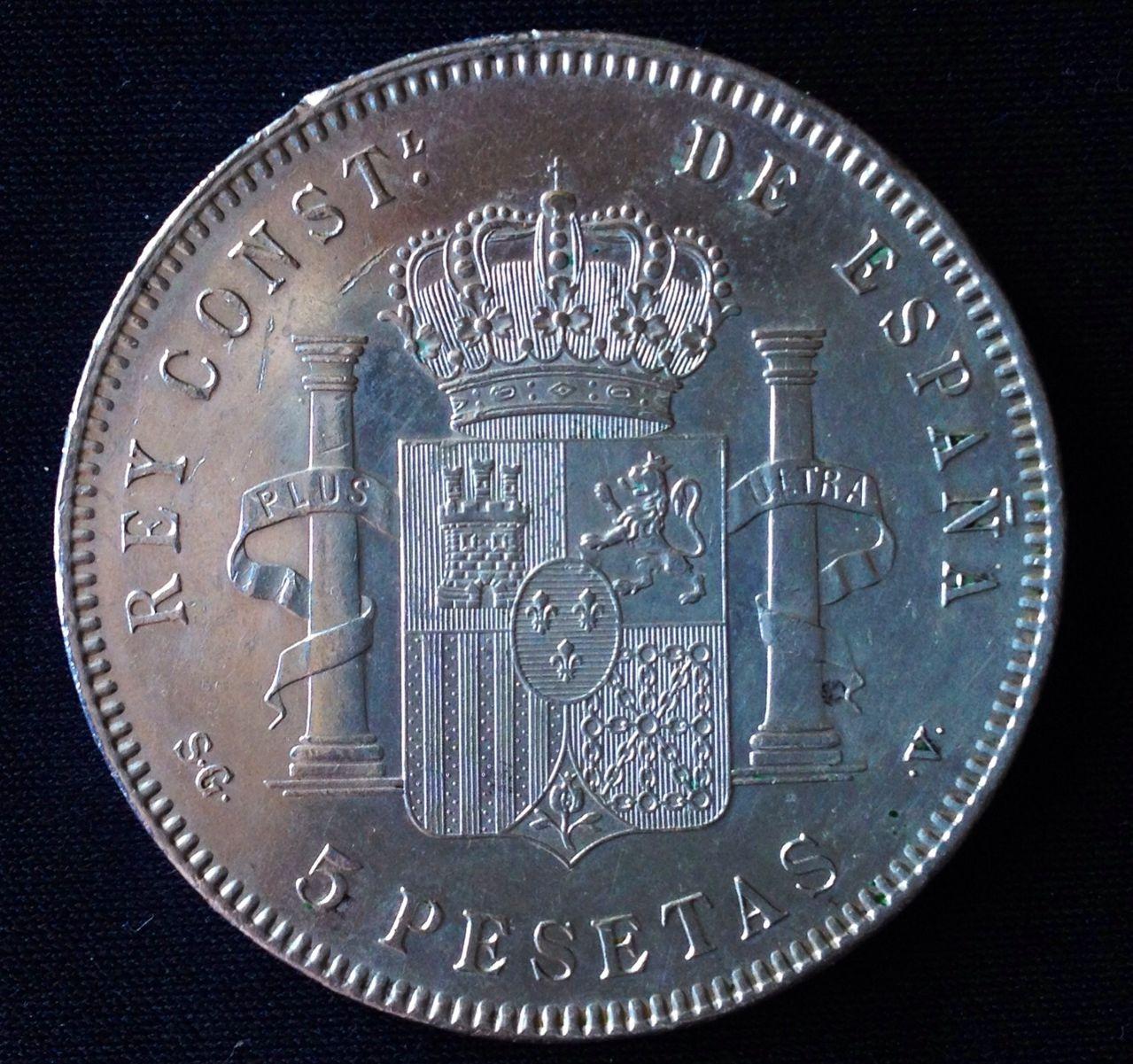 5 pesetas 1884. Alfonso XII - Página 2 Image