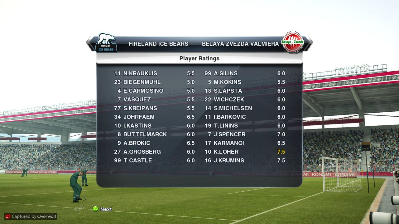 GM42 Phoenix PSC - Riga Wolves FC, GM43 Fireland Ice Bears - BZ Valmiera Pro_Evolution_Soccer_2013_01_06_2015_23_06_17
