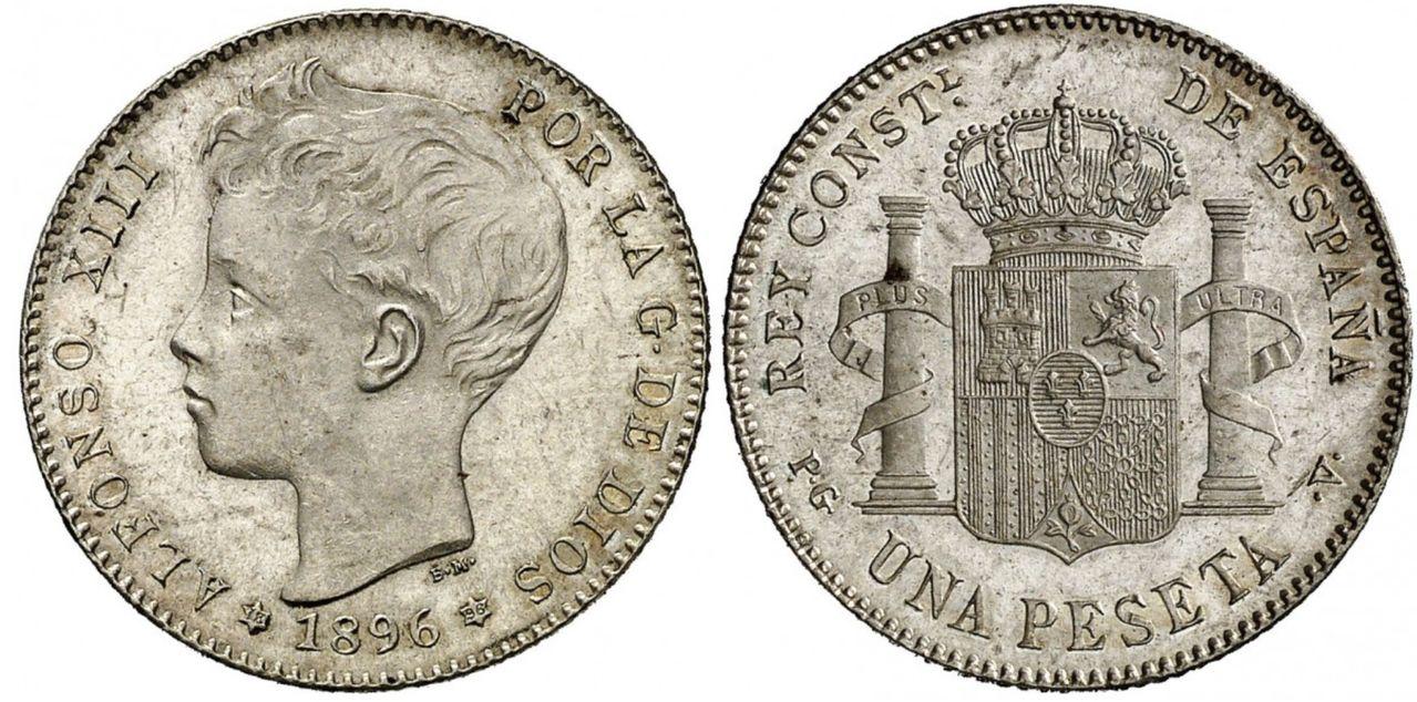 peseta 1896 Alfonso XIII. Dedicada a Estrella76. Image