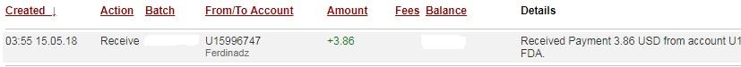 1º Pago de Ferdinadz ( $3,86 ) Ferdinadzpayment