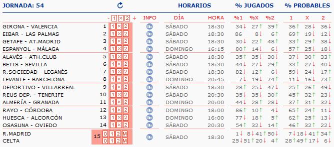 LA QUINIELA DE ZONAMALAGUISTA. J37ª (12-13 Mayo) Q_HORARIOS
