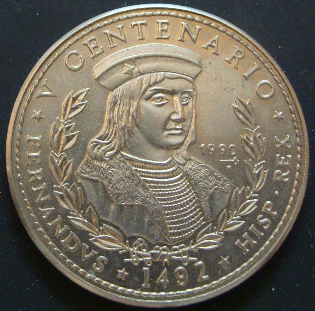 1 Peso. Cuba (1990) V Centenario CUB_1_Peso_Fernando_el_Cat_lico_rev
