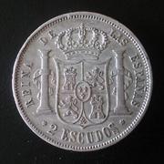 2 escudos 1868 (*68). Isabel II Madrid. Dedicada a Blas de Lezo 20180506_174129