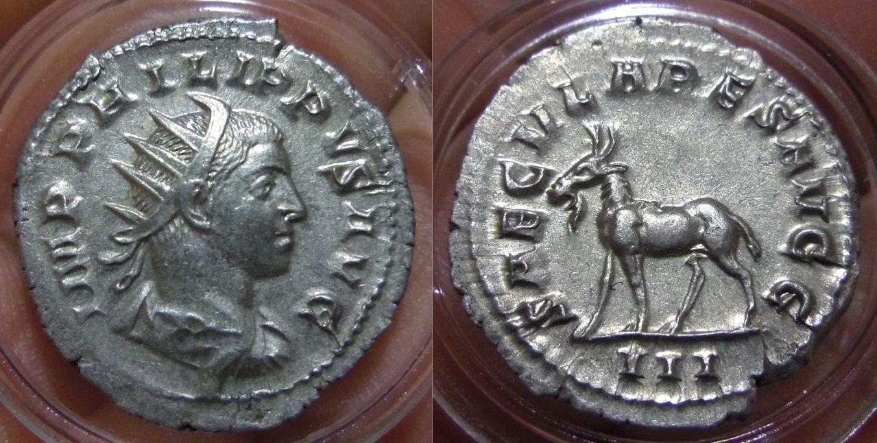 Antoniniano. Filipo II (Serie de los Juegos Seculares). 248. Roma (Tercera oficina). IMGP6208