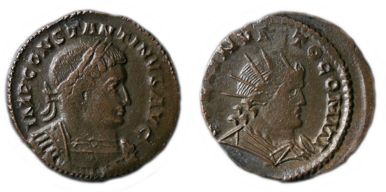Nummus de Constantino I. SOLI INVICTO COMITI. Busto del Sol a dcha. Trier. 7779