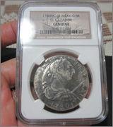 """8 reales 1780. Carlos III. Méjico. Pecio Buque """"El Cazador"""". Certificado NGC. Image"""