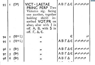 AE3 de Licinio II. VICT.LAETAE PRINC PERP. Dos Victorias estantes y enfrentadas, Siscia. Image