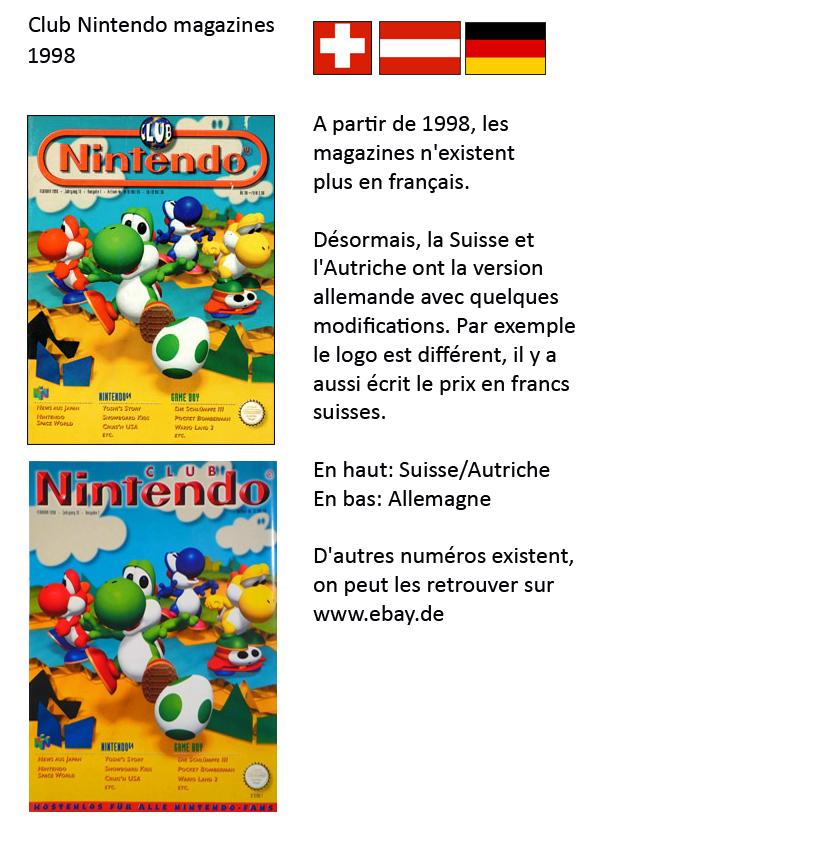 """Magazine """"Club Nintendo"""" 1998_Suisse"""
