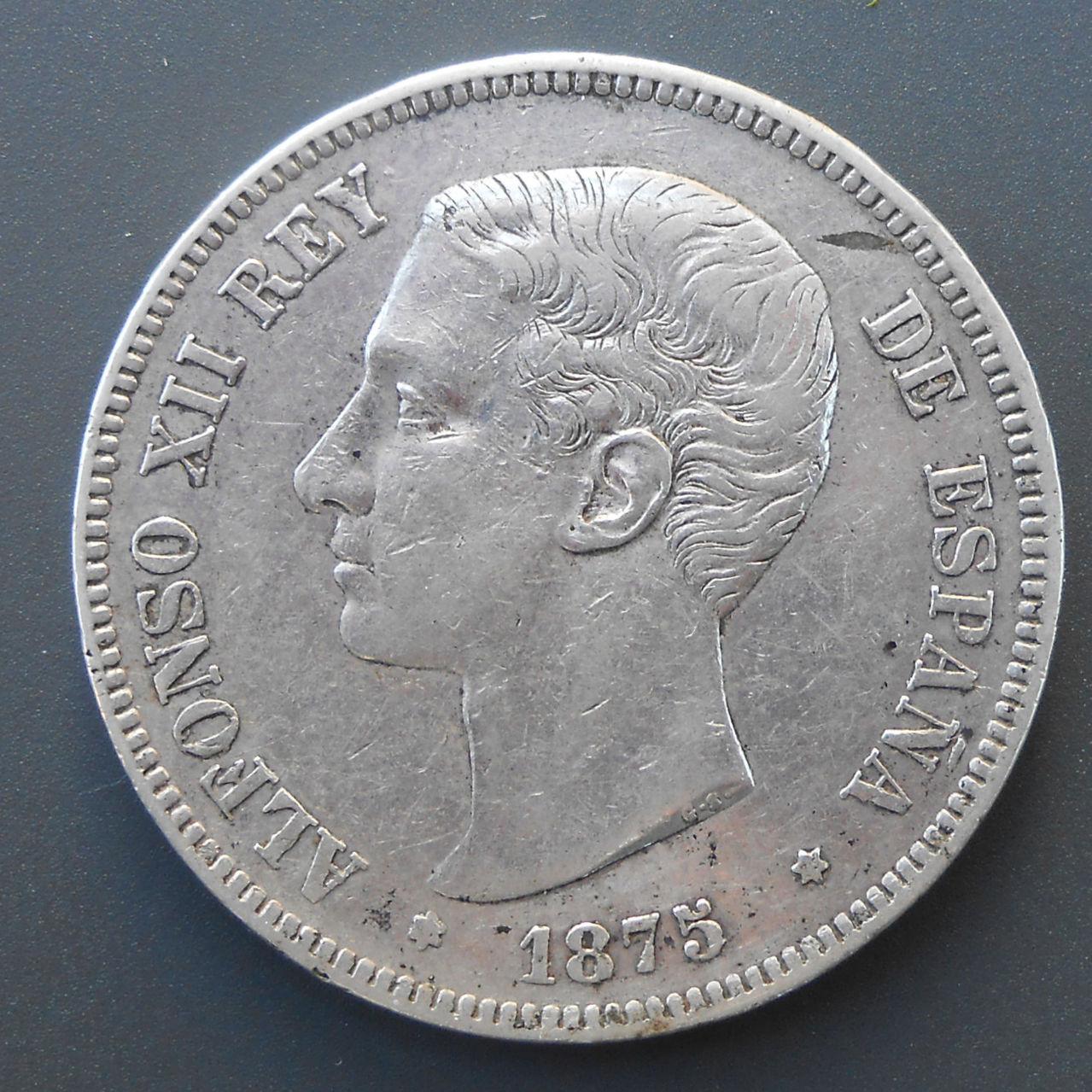 5 pesetas Alfonso XII 1875 DSCN1483