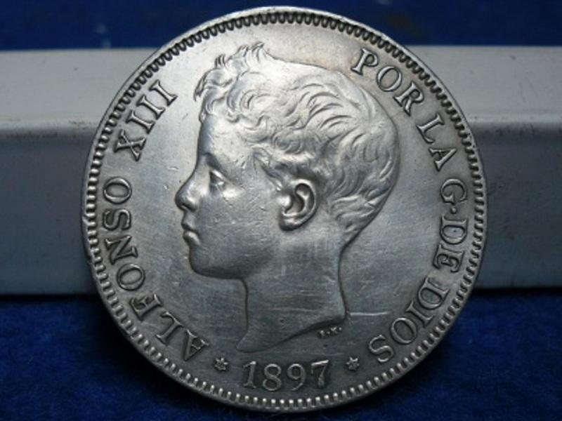 5 pesetas 1897. (*18 *97) - Alfonso XIII. SAM_2771