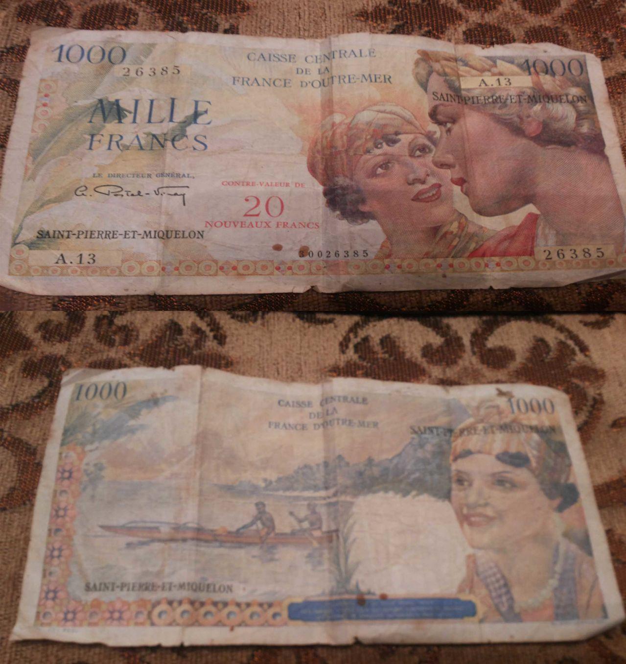 1000 Francos Saint Pierre et Miquelon, 1964 Mil_francos