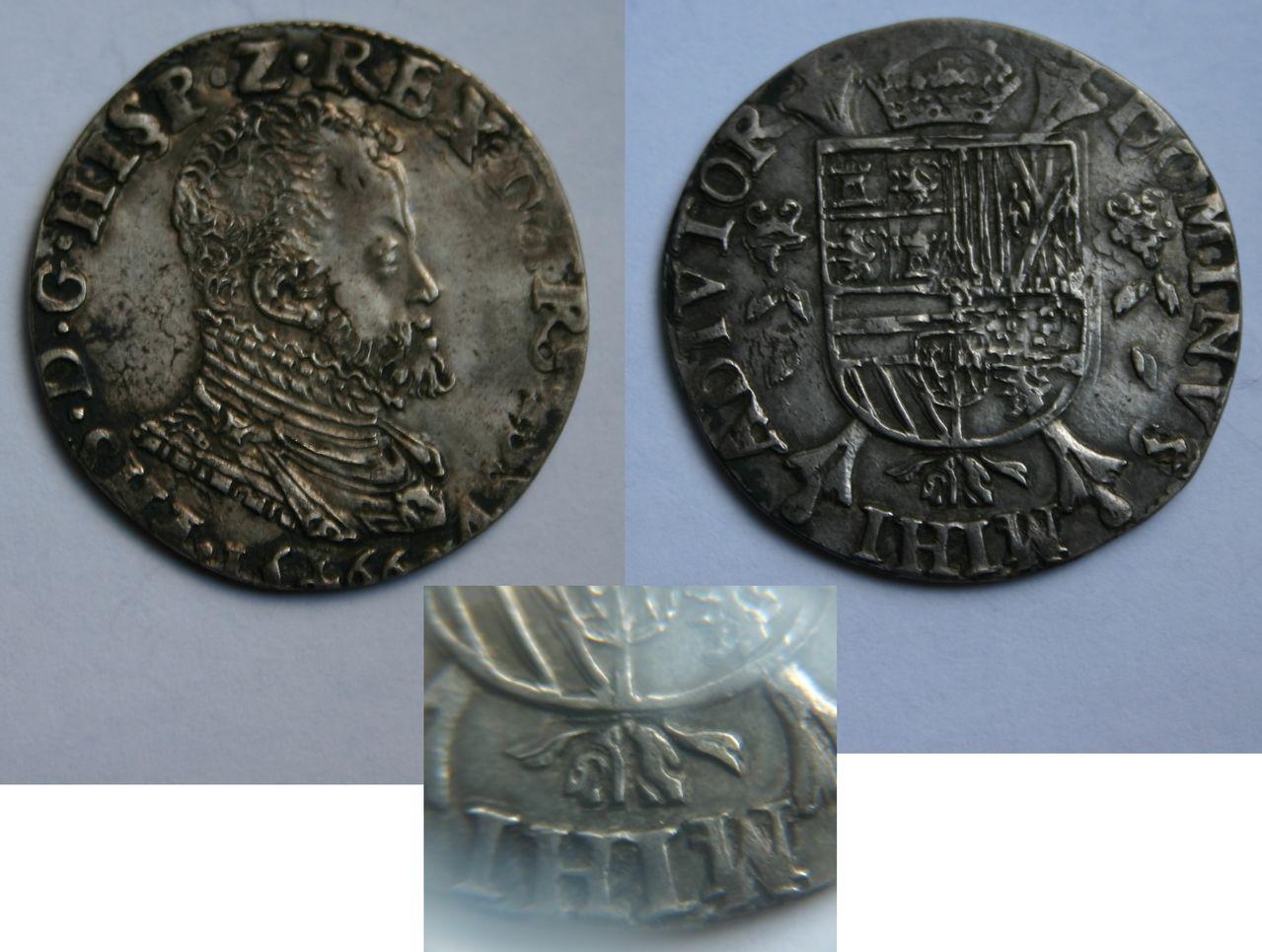 1/5 escudo 1566. Felipe II. Overijssel. 1_5_Philipsdaalder_1566_Overijssel
