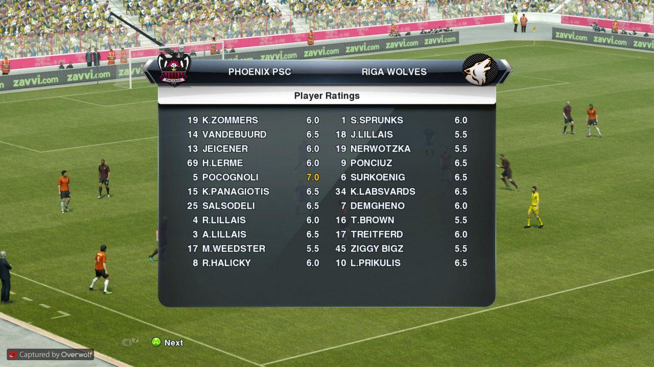 GM42 Phoenix PSC - Riga Wolves FC, GM43 Fireland Ice Bears - BZ Valmiera Pro_Evolution_Soccer_2013_01_06_2015_22_26_48
