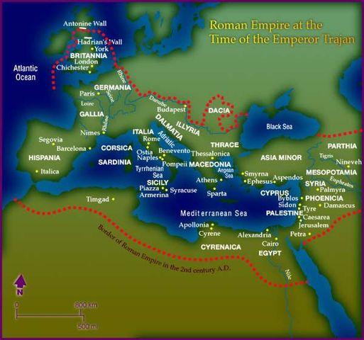 El 1º emperador romano hispano: TRAJANO. Vida contada por un denario a su nombre 00b_Imperio_romano_en_tiempos_de_Trajano