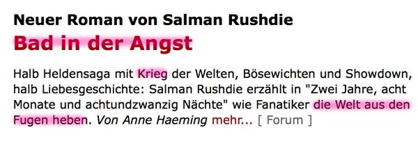 Fundstücke und 'Hinweise' auf den bevorstehenden heißen Krieg?! Rushdie